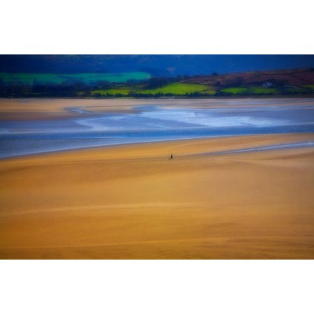 Lonesome Man walking on sand beach Portmeirion - location for the 1960s cult film The Prisoner Gwynedd North Wales Canvas Art - Panoramic Images (18 x 12)