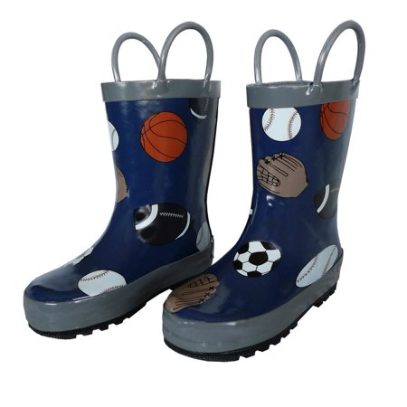 - Navy Sports Balls Toddler Boys Rain Boots 5-10