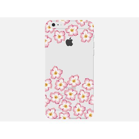 Plumeria Flower Cell Phone Charm - Pink and Yellow Plumeria Flower Cute Floral Pattern Clear Phone Case - For Apple iPhone 6s Plus Phone Back Cover