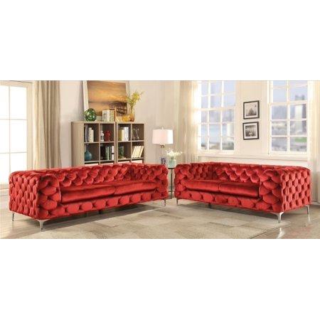 On Tufted Velvet Sofa Loveseat Set