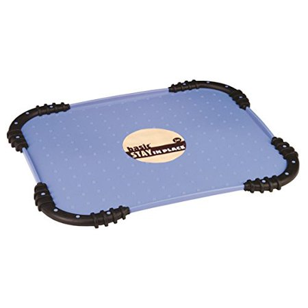 JW Pet Company Stay in Place Pet Food Mat, Colors may vary The JW Pet Stay In Place Mat is a plastic placemat with Skid Stop rubber edges to keep the mat from moving. This revolutionary mat has slightly raised bumps on the flat surface to hold the pets bowl in place. The Skid Stop mat is a must have for dog & cat bowls. Helps to keep the pets feeding environment clean.Easily washable A must have for dog & cat bowls