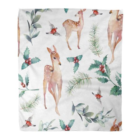 HATIART Throw Blanket Warm Cozy Print Flannel Christmas Deer Vintage Fawns Holly Branches Spruce Bullfinch Retro Comfortable Soft for Bed Sofa and Couch 50x60 Inches - image 1 de 1