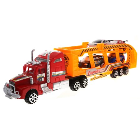 KidPlay Deluxe Friction Semi Truck Car Carrier with 4 Race Car Toys (2 Colors) - Color Race Cars