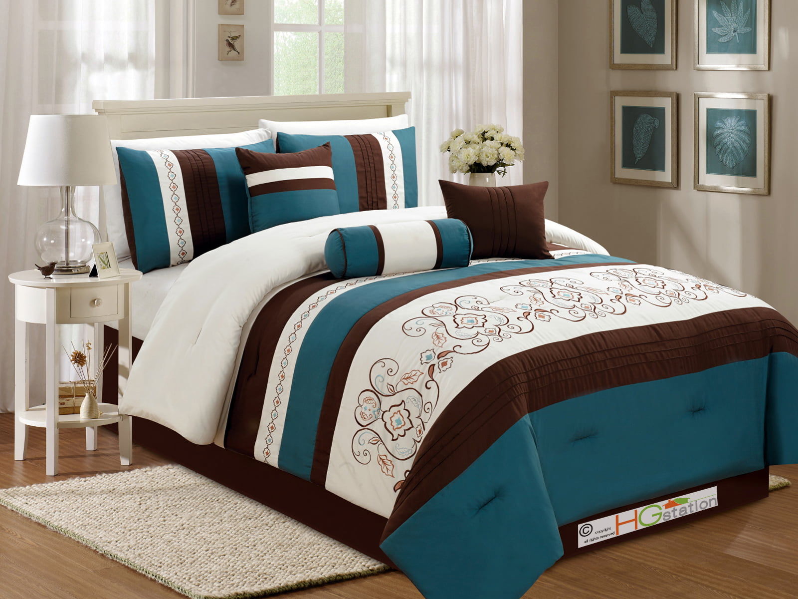 11 Pc Fl Scroll Damask Embroidery Piping Comforter Curtain Set Teal Blue Green Brown Ivory Queen