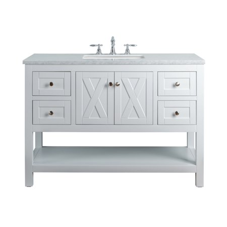 Stufurhome Anabelle 48 Inches White Single Sink Bathroom ...