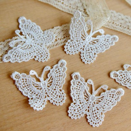 10pcs Hollow out Lace Embroidery Stickwork Sticker Butterfly Cloth Clothes Applique Decal Water Soluble Mesh DIY