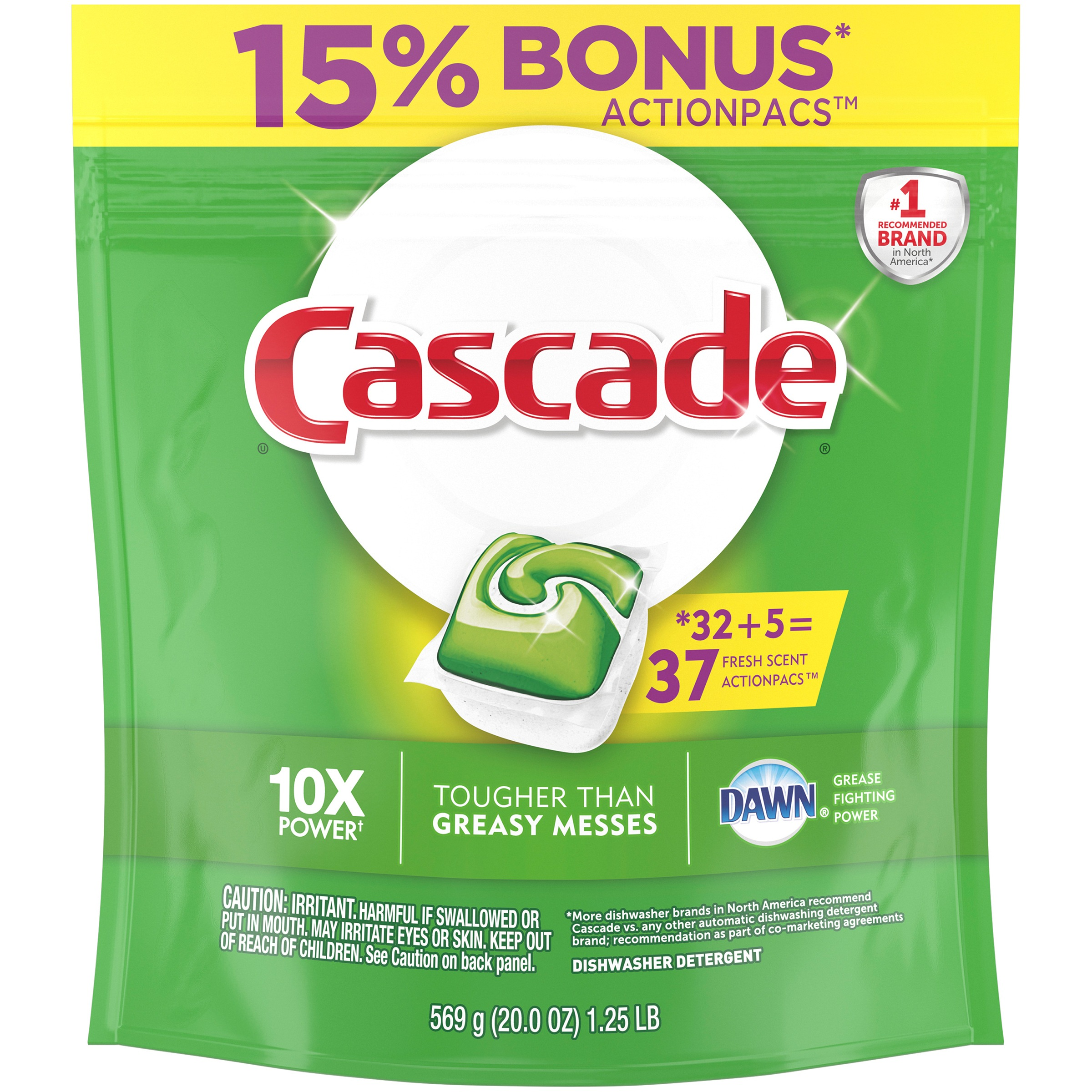 Cascade ActionPacs Dishwasher Detergent, Fresh, 37 count