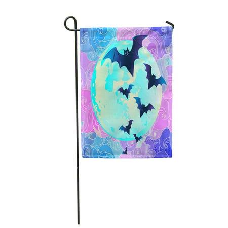 LADDKE Halloween Creepy Cute Bat Flying Against Full Moon in Neon Pastel Colors Retro Garden Flag Decorative Flag House Banner 28x40 inch](Cute And Creepy Halloween Makeup)