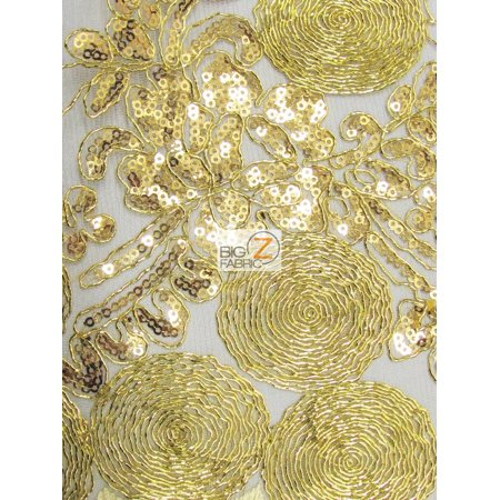 Circular Sequins London Lace Fabric / Gold / Sold By The - Fabric Nightclub London Halloween