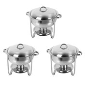 Ktaxon 3Pcs 5 Quart Full Size Stainless Steel Chafing Dish with Water Pan and Chafing Fuel Holder,Complete Chafer Set