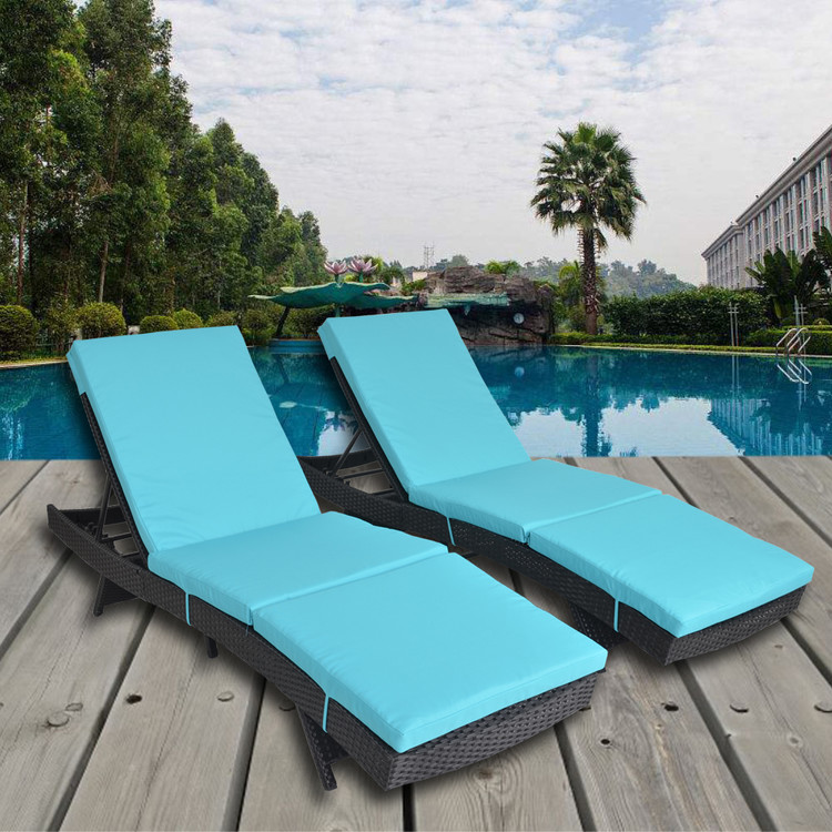 Patio Lounge Chair Set Of 2 Black Rattan Turquoise Cushion Recliners