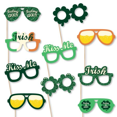 St. Patrick's Day Glasses - Paper Card Stock Saint Patty's Day Party Photo Booth Props Kit - 10 Count](St Patricks Day Glasses)