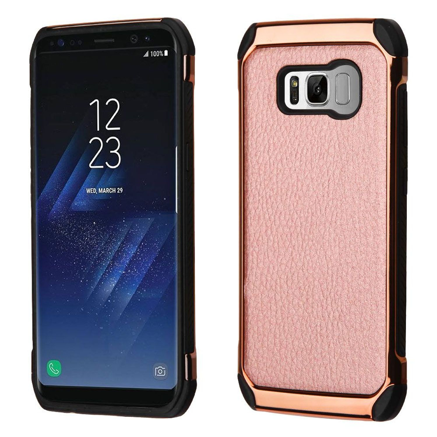 Insten Dual Layer [Shock Absorbing] Hybrid Fabric Hard Plastic/Soft TPU Rubber Case Phone Cover For Samsung Galaxy S8, Rose Gold/Black