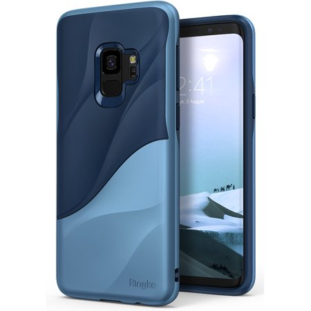 Galaxy S9 Case Ringke [WAVE] [Coastal Blue] Dual Layer Heavy Duty 3D Textured Shock Absorbent PC TPU Full Body Drop Resistant Protection Modern Design Cover for Samsung Galaxy S9