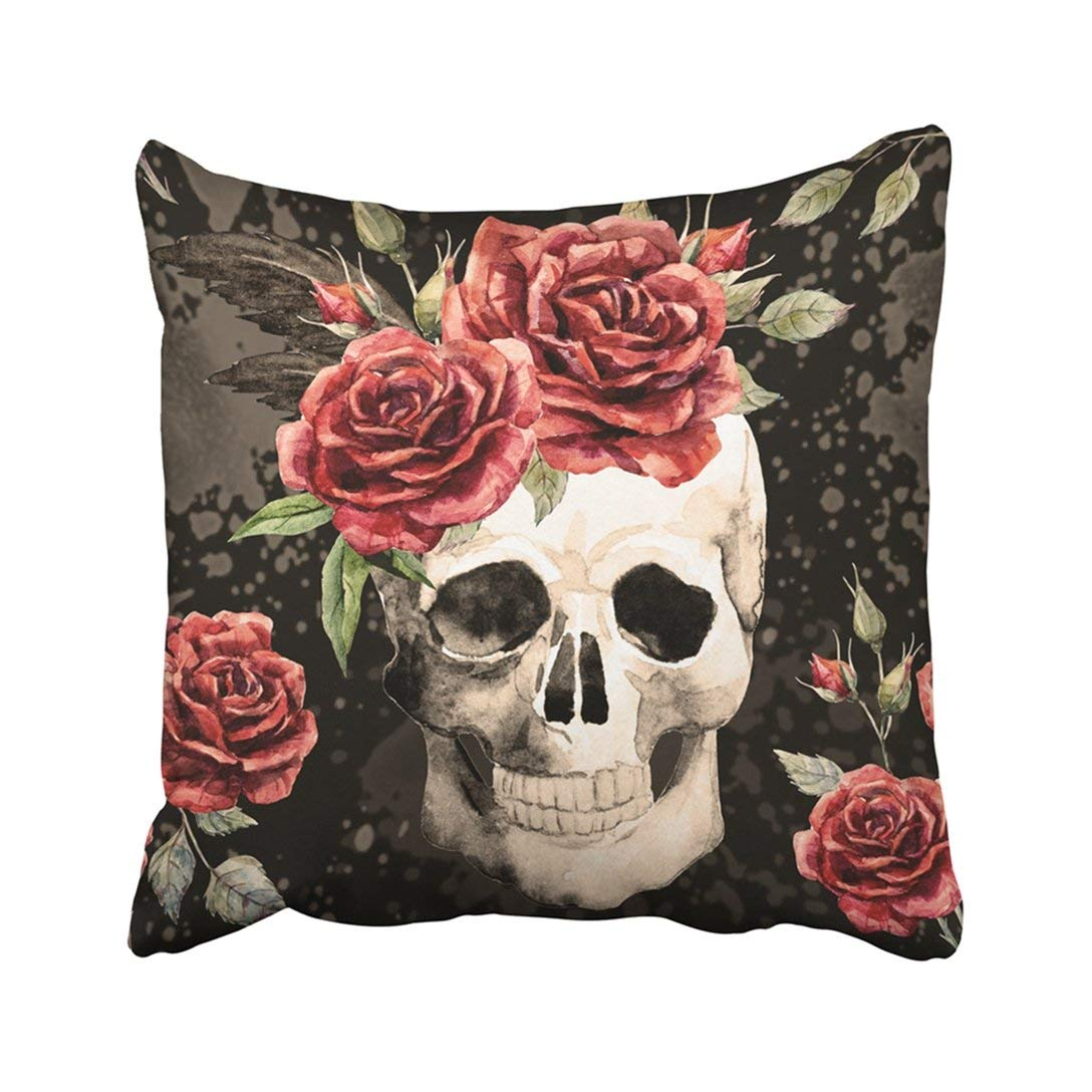 BPBOP Black Flower Watercolor Pattern Gothic Skull And Red Rose Dark Colorful Tattoo Floral Day Pillowcase Cover 20x20 inch