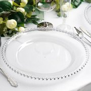 """Efavormart 6 Pack 12"""" Clear Acrylic Round Charger Plates With Beaded Rim Dinner Charger Plates"""
