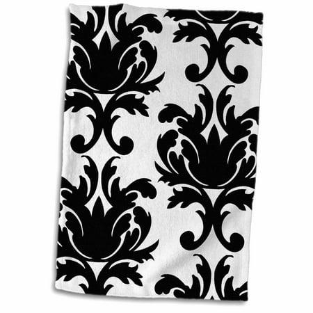 3dRose Large Elegant Black And White Damask Pattern Design - Towel, 15 by 22-inch Damask Guest Towel