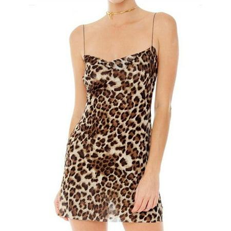 Women Leopard Print Spaghetti Strap Side Slit Party Clubwear Bodycon Mini Dress (Leopard Print Tube Dress)