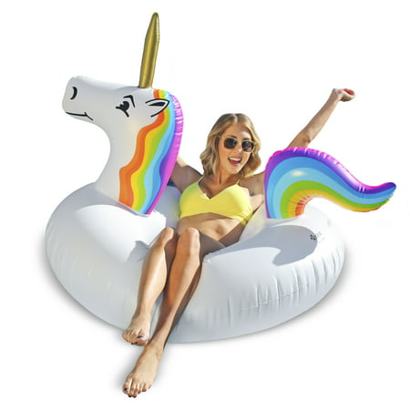 GoFloats Unicorn Party Tube Inflatable Swimming Pool Raft, Float In Style, for Adults and Kids - Pool Party Items