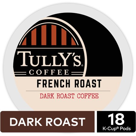 - Tully's Coffee French Roast, Keurig K-Cup Pods, Dark Roast, 18 Count