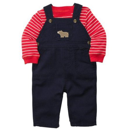 Carters Infant Boys 2 Piece Outfit Blue Bear Overalls & Striped Red Shirt Blue Infant Two Piece