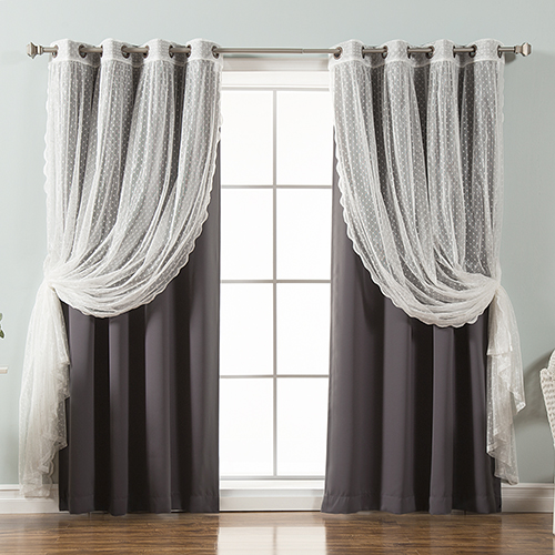 Dark Grey Lace and Solid 52 x 96 In. Blackout Window Treatments, Set of Four by