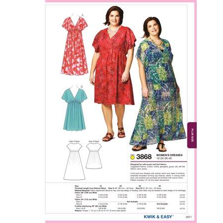 Kwik Sew Pattern Dresses, (1X, 2X, 3X, 4X) (Morticia Dress Pattern)
