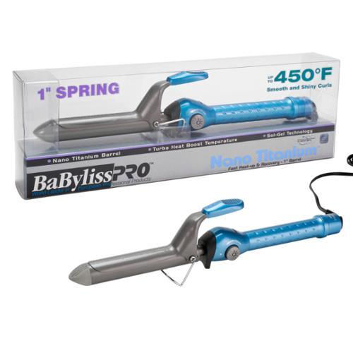 "BaByliss Pro 1"" Nano Titanium Spring Barrel Hair Curling Iron, BLUE, BABNT100S"