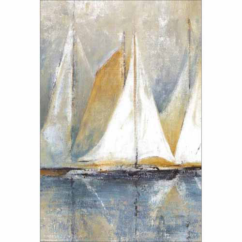Traditional Sailboat Reflections Texture Painting Blue Canvas Art by Pied Piper Creative