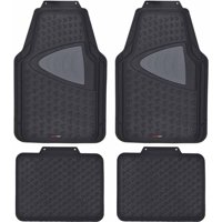 Motor Trend CleanRubber Series, Grid 2-Tone Inlay, 4-piece Odorless Rubber Floor Mats for Car, Truck and SUV