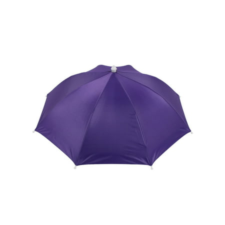 Unique Bargains Purple Polyester Sun Rain Golfing Fishing Umbrella Hat Headwear (Fishing Umbrella Hat)