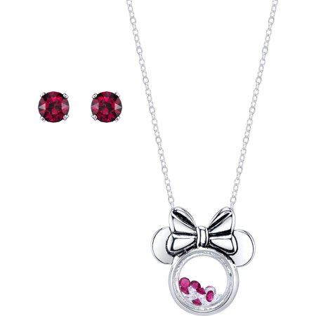 Disney 5mm Ruby and Clear Crystal Silver-Tone Minnie Mouse Necklace with Post Stud Earrings Set, 18