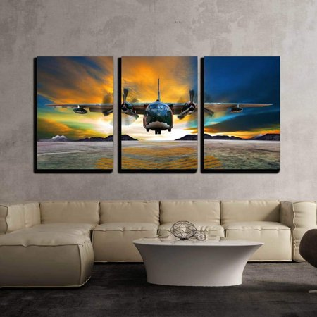 "wall26 - 3 Piece Canvas Wall Art - Military Plane Landing on Airforce Runways Against Beautiful Dusky Sky - Modern Home Decor Stretched and Framed Ready to Hang - 16""x24""x3 Panels"