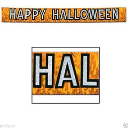Happy Halloween Metallic Banner Prop Border Decoration Decor Party Supply - Halloween Party Decorations Rental