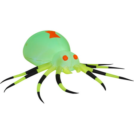 Gemmy Airblown Inflatable 3.5' X 11.5' Giant Neon Green Spider Halloween Decoration