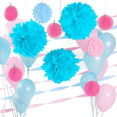 Baby shower party decoration kit light blue pink party for Baby shower decoration kit