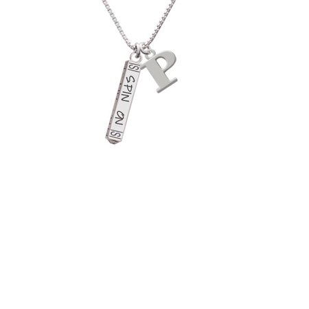 Spin On Bar Capital Initial P Necklace