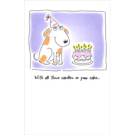 Freedom Greetings Dog With Birthday Hat and Cake Birthday Card