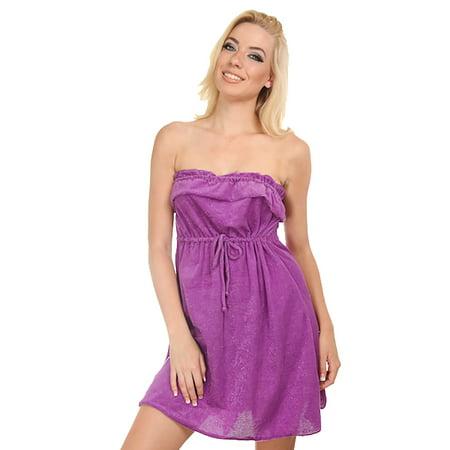 Dippin' Daisy's Purple Strapless Short Towel Sundress ... - photo#3