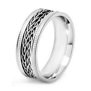 Stainless Steel Double Braided Inlay Milgrain Ring