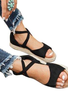 Womens Flat Platform Espadrilles Sandals Summer Beach Ankle Strap Peep Toe Shoes