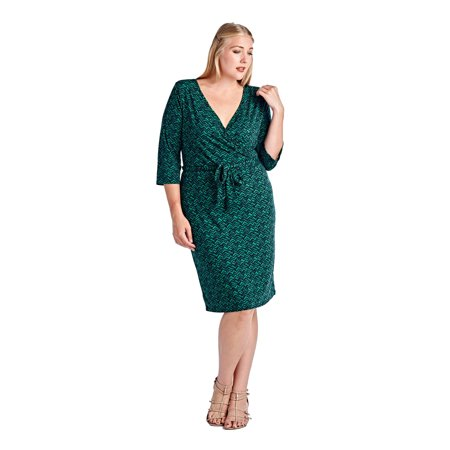Marcelle Marguax Women\'s Plus Size Three Quarter Sleeve, Knee Length Faux  Wrap Midi Dress