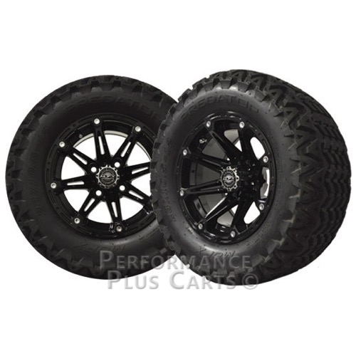 """Element 12"""" Black Golf Cart Wheels with 23"""" Predator A/T Tires - Set of 4"""