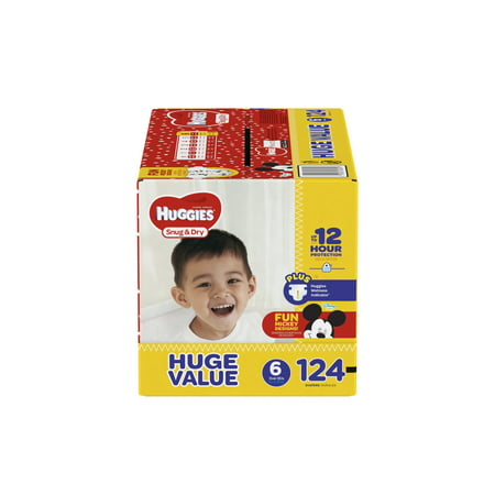 HUGGIES Snug & Dry Diapers, Size 6, 124 Count