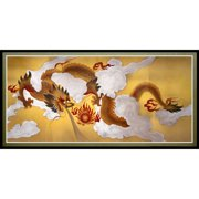 """Oriental Furniture Dragons in the Sky Canvas Wall Art, Wall hanging, 35.25""""W x17.75""""H, Printed on Canvas"""