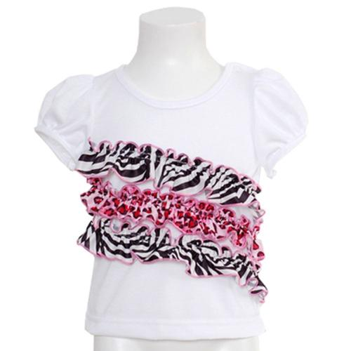 Laura Dare White Sleep Top Size 9M Pink Black Animal Ruffle Baby Girl