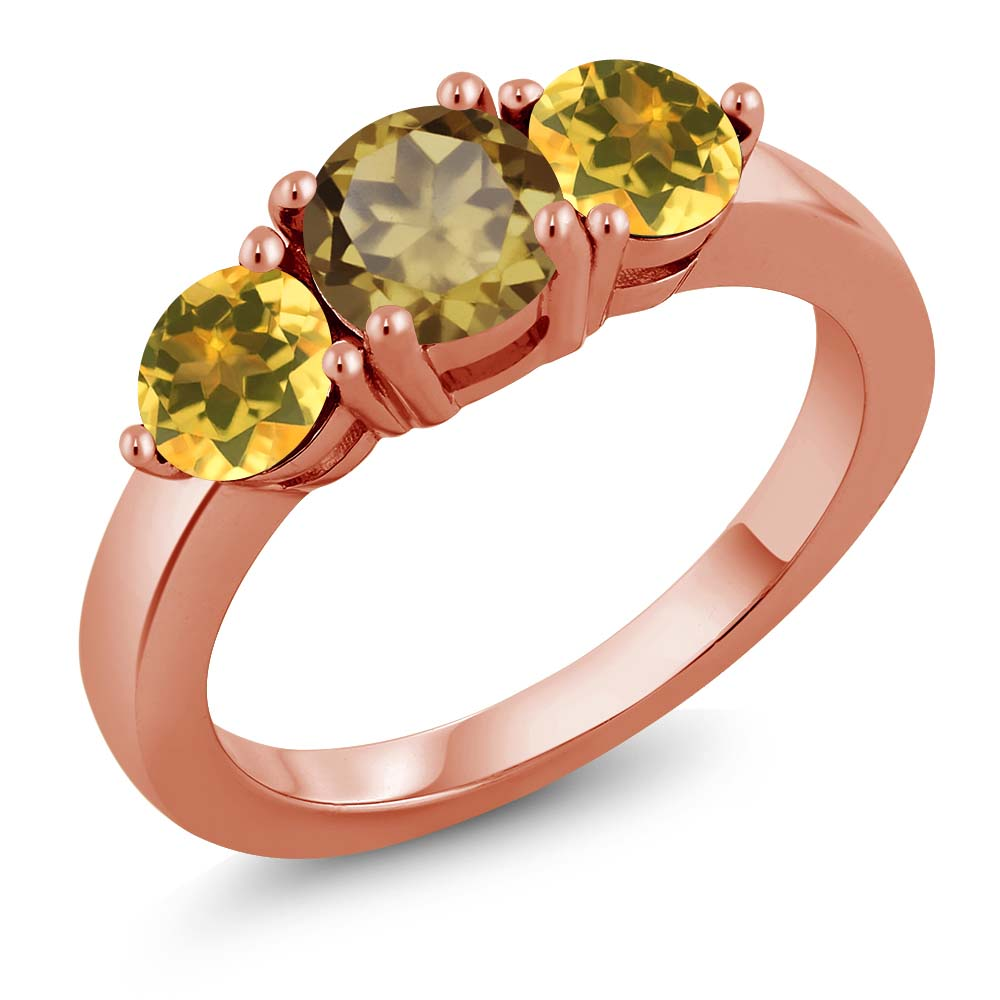 1.70 Ct Round Whiskey Quartz Yellow Citrine 18K Rose Gold Plated Silver Ring