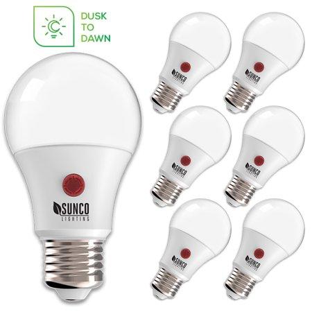 Sunco Lighting A19 Dusk to Dawn LED Light Bulb 9W (60W) 800lm 3000K 6 Pack