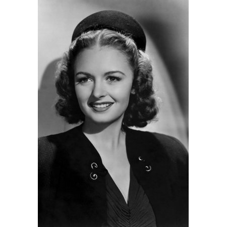Donna V-neck - Donna Reed radiant smile in dark outfit v neck with hat 24x36 Poster