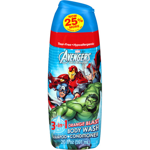 Marvel Avengers Assemble Orange Blast 3 in 1 Body Wash, Shampoo & Conditioner, 20 fl oz